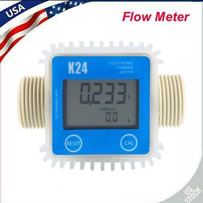 New Pro K24 Lcd Turbine Digital Diesel Fuel Flow Meter For Chemicals Water 1 In