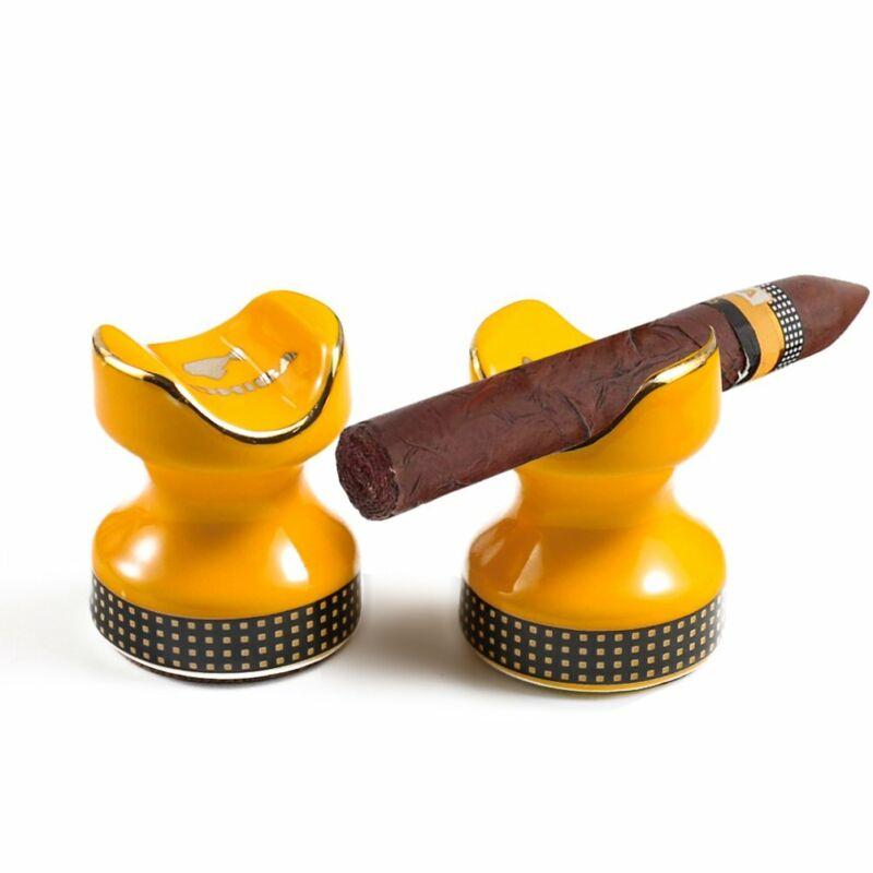 2PC Pocket Cigar Holder Portable Ceramic Travel Smoking Mini Cigar Stand Rest