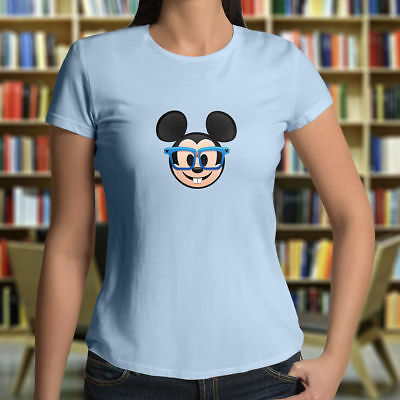 Mickey Emoji (Disney Nerd Geek Cute Glasses Mickey Mouse Emoji Junior Girls Womens Tee T-Shirt)