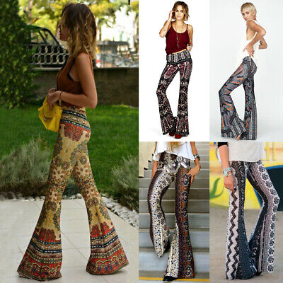 Women's Boho Hippie High Waist Printed Wide Leg Long Flared Bell Bottom Pants - Hippie Woman