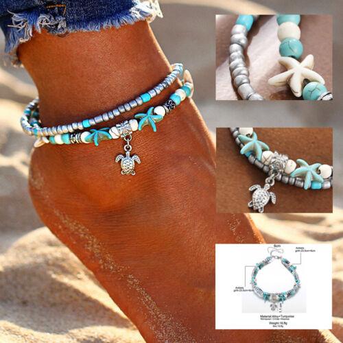 Boho Ankle Bracelet Silver Tone Women's Fashion Beaded Adjus