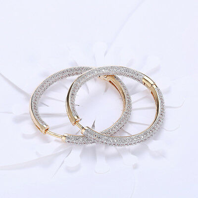 Swarovski Elements CZ Two Inch Round Hoop Earrings 18k White Gold Plated (White Hoop Earrings)