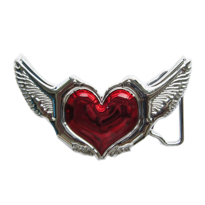 Red Heart Love Birds Wing Chrome Finish Metal Belt Buckle