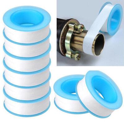 10 Rolls 10m Ptfe White Thread Pipe Tape Teflon Plumbers Sealing Tape Seal