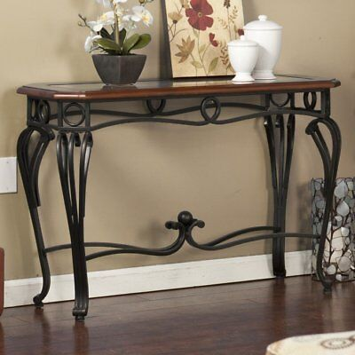 Metal Wood Console Table Sofa Entry Living Room Furniture Glass Top Accent Foyer ()