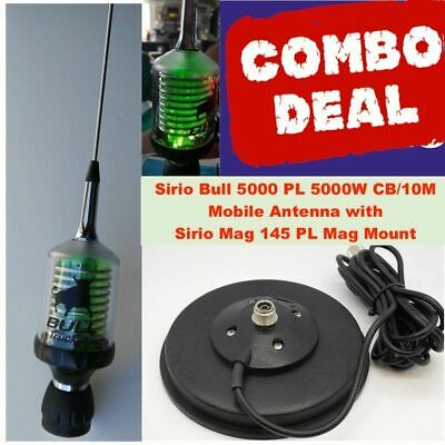 Combo: Sirio Bull Trucker 5000 LED 5000W CB/10M Antenna and Strong Mag Mount Kit ()