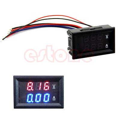 Led Amp Dual Digital Volt Meter Gauge Dc 100v 10a Voltmeter Ammeter Blue Red
