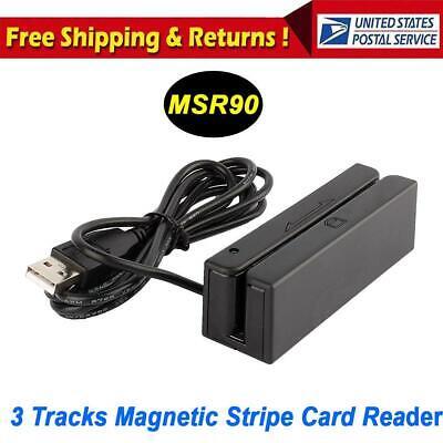 Msr90 3 Tracks Usb Magnetic Credit Card Reader Stripe Swipe Magstripe Scanner Us