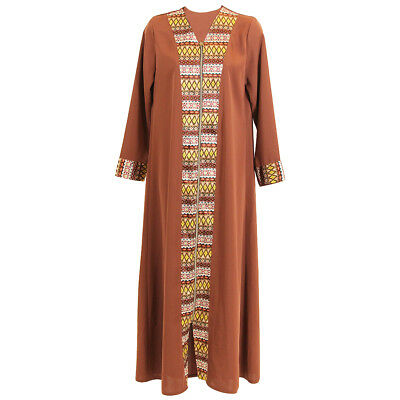 Clay Brown Red Long Sleeve Modern Full Open Abaya with Print Pattern Design - S