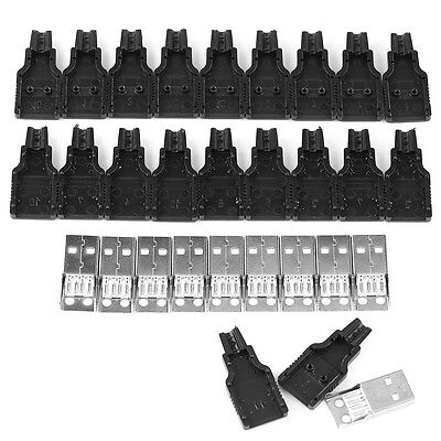 10pcs Type A Male Usb 4 Pin Plug Socket Connector With Black Plastic Cover Highq