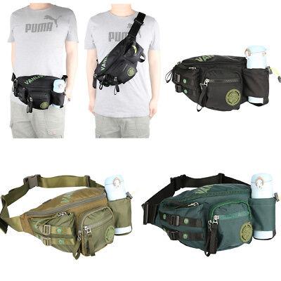 Men Women Nylon Fanny Pack Waist Bag with Bottle Holder Chest Pack Waterproof ()