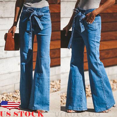 US Womens Skinny Slim Flare Denim Jeans Retro Bell Bottom Stretch Pants Trousers