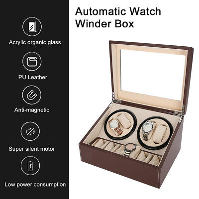 4+6 Automatic Rotation Leather Wood Watch Winder Storage Display Case Box Brown