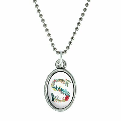 Letter S Floral Monogram Initial Antiqued Oval Charm Pendant with -