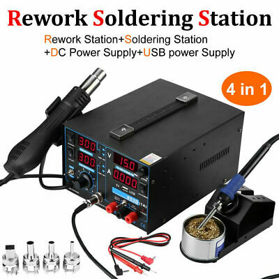 4 In 1 Soldering Rework Station Solder Iron Smd Hot Air Gun Dc Power Supply