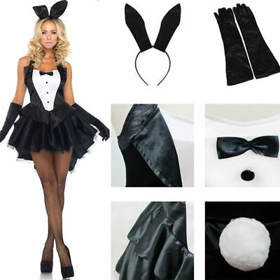 Halloween Costume Tailcoat (Black Bunny Girl Tuxedo Tailcoat Dress Woman Sexy Costume For Halloween)