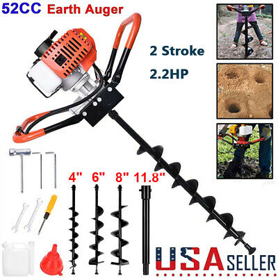 52cc Post Hole Digger Gas Powered Earth Auger Borer Fence Ground 3 Drill Bits
