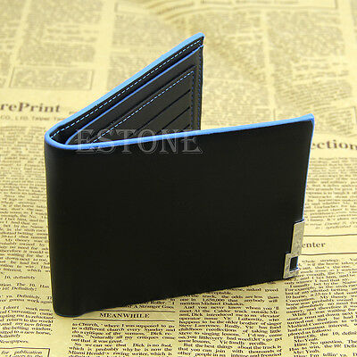 Men Bifold Business Leather Wallet Card Holder Coin Pocket Money Purse Bag Black
