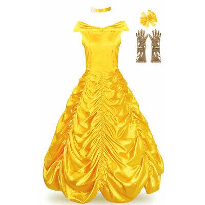Belle Halloween Costume Women (Women Adult Belle Costume Princess Dress Cosplay Halloween Party Ball Gown)