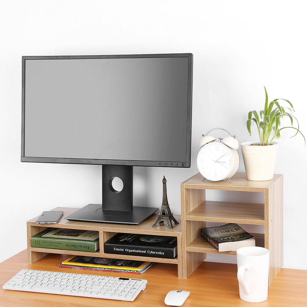 Computer Monitor Stand Desk Table 2 Tier Shelf Laptop