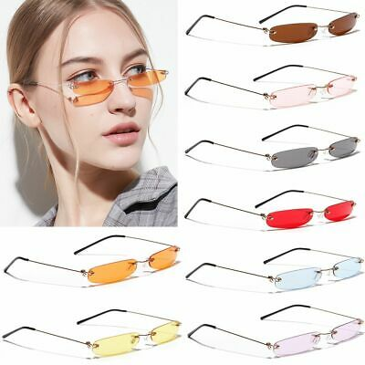 Fashion Narrow Rectangle Sunglasses Rimless Tinted Candy Color Lens Sun (Candies Sunglasses)