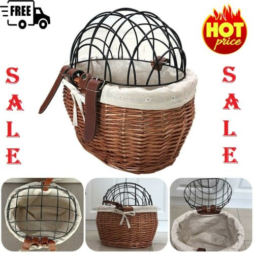 Pet Bicycle Front Handlebars Basket Cat Dog Seat Cart Carrier Handwoven Baskets