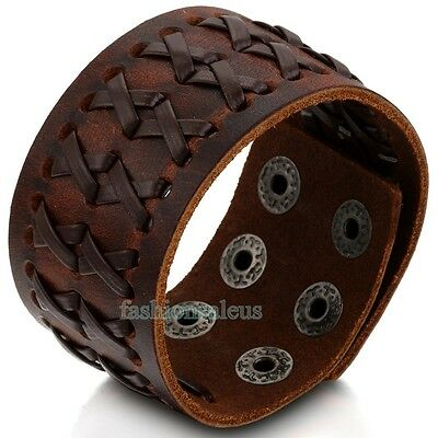 Brown Leather Braided Mens Wide Bracelet Bangle Wristband Snap Button Adjustable - Snap Wristbands