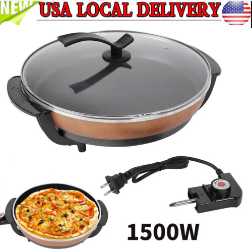 """1500W 16"""" Nonstick Electric Skillet Frying Pizza Pan Buffet"""