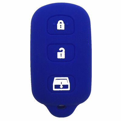 4 Buttons Blue Silicone Key Shell Case Key Cover fit for Toyota 4runner Sequoia