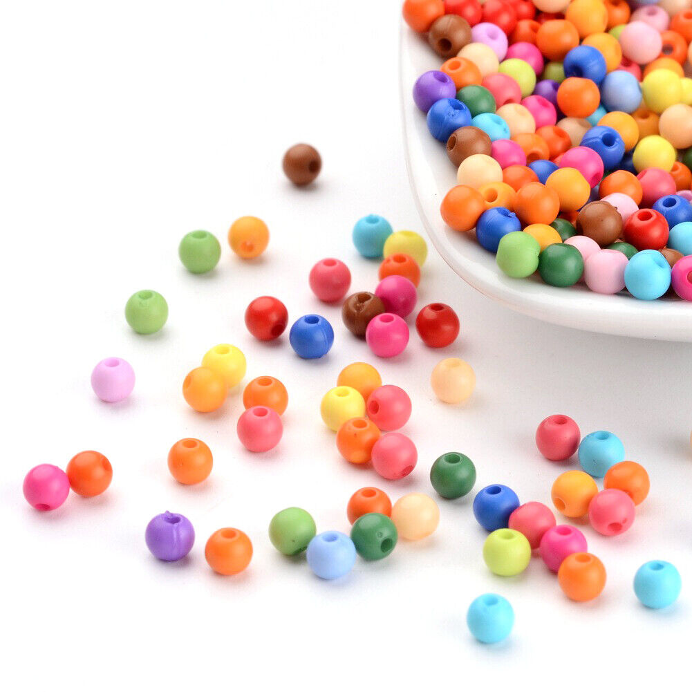 500 pcs Solid Chunky Acrylic Ball Beads For DIY Jewelry and Bracelets Making 4mm