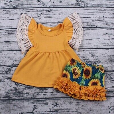Sunflower Toddler Baby Girl Ruffle Dress Tops Floral Short Pants Outfits Clothes
