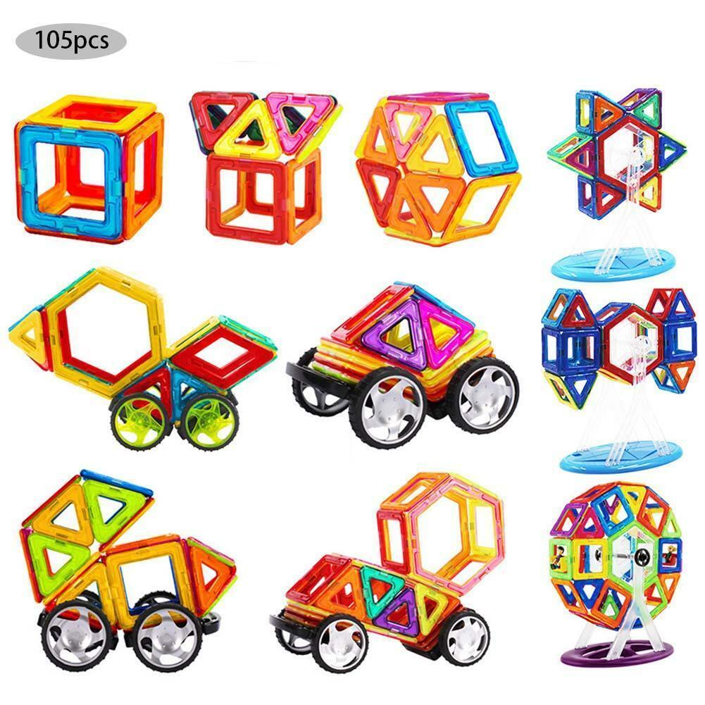 105pcs Magformers Spielzeug 3D Ziegel Magnetische Bausteine Pädagogisches Toys