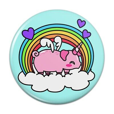 Pig With Makeup (Cute Unicorn Pig with Rainbow Compact Pocket Purse Hand Cosmetic Makeup)