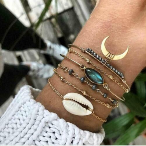 6pcs/Set Turquoise Shell Bracelet Boho Moon Charm Bangles fo