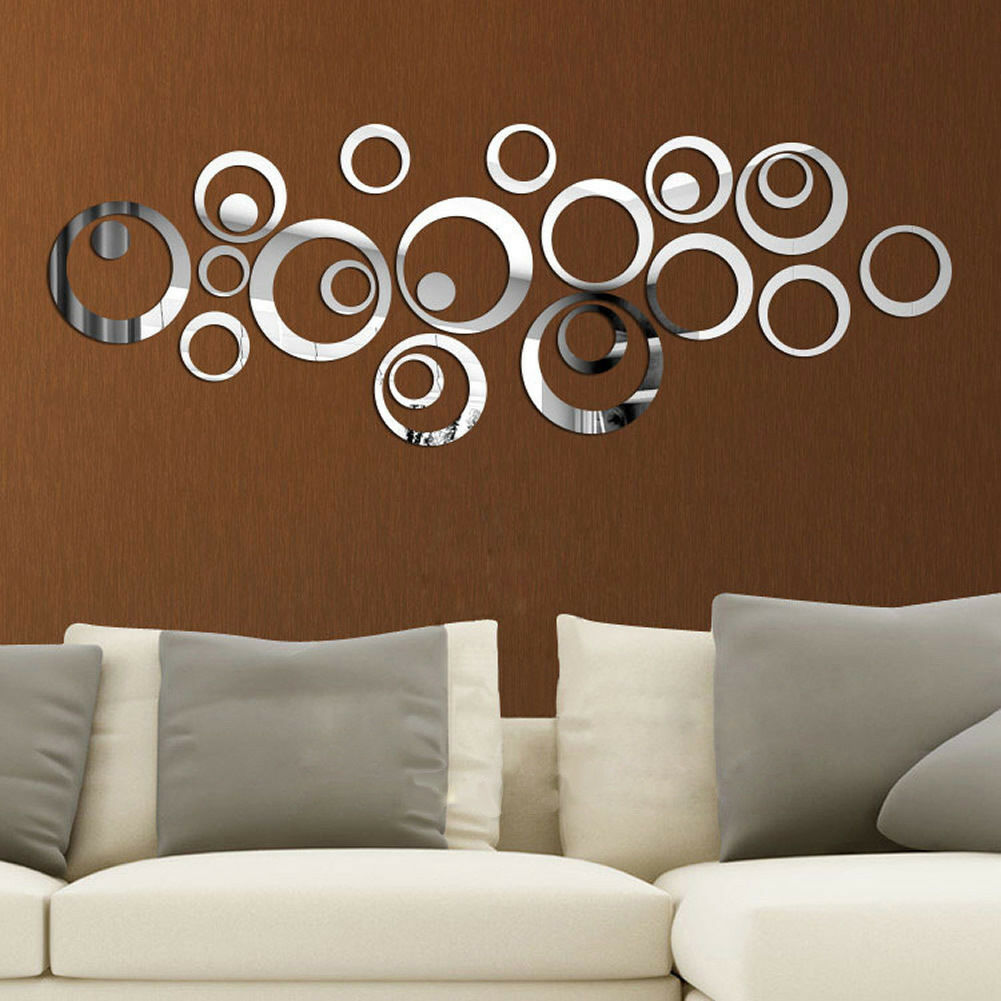 Home Decoration - 24pcs 3D Circles Mirror Wall Sticker DIY Decal Vinyl Mural Home Decor Removable