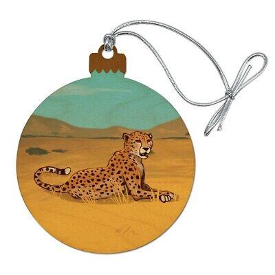 Cheetah Africa Savannah Wood Christmas Tree Holiday Ornament ()
