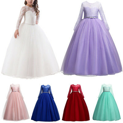 Long Sleeve Illusion Lace Flower Girl Dress For Wedding First Communion - First Communion Long Dresses
