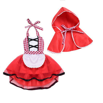 Little Red Riding Hood Halloween Costume for Baby Girl Fancy Party Tutu Dress