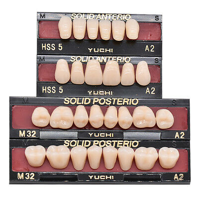 3x Dental A2 Shade Full Mouth Synthetic Resin Teeth Whitening Denture Fake Tooth