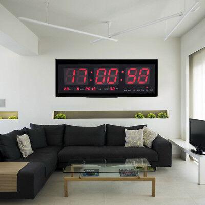 LED Wanduhr Digitaluhr mit Datum Temperatur Wohnzimmer Büro Uhr 48*19*5cm BM