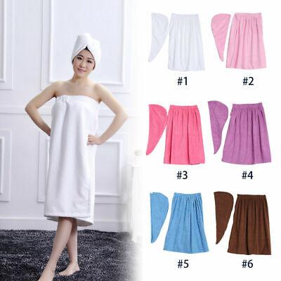 Women Soft Spa Bath Body Wrap Set Towel Bathrobe With Fast D