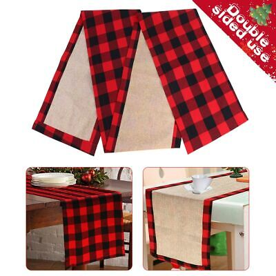 Red And Black Decorations (Red and Black Buffalo Check Plaid Table Runner Farmhouse Home Xmas Table)