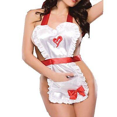 Hot Cosplay Women (Women Nightwear Satin Costume Cosplay Maid Sexy Lingerie Outfit Fancy Dress)