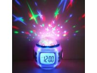 Star Night Light Projector Lamp & Clock w Music