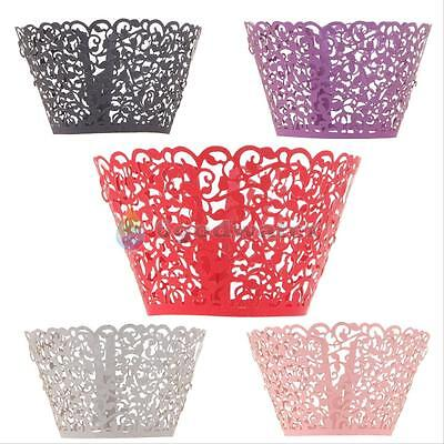 12Pcs Laser Cut Cupcake Wrappers Liners Birthday Wedding Cake Wrapper Wraps