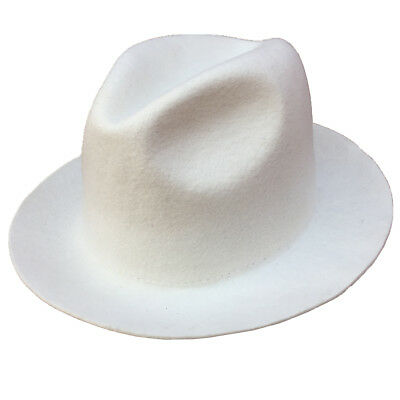 Wool Felt White Fedora Hat For Women or Men (White Felt Fedora)