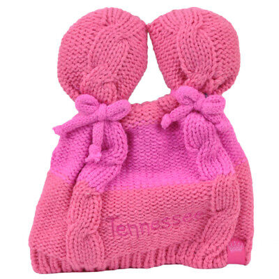 - Tennessee State Infant Striped Knit Beanie Pink Crochet Ear Ball Hat USA America