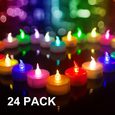 Battery Operated Flameless Candles Colorful LED Tea Lights Color Changing 24pcs (Flameless Colored Candles)
