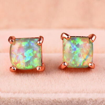 Square Cut 6MM Rainbow Light Green Fire Opal Rose Gold Plated Stud Hook Earrings (6 Mm Square Green)