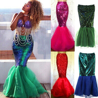 US STOCK Women Girl Mermaid Cosplay Costume Fancy Party Dresses Tail Maxi Skirt